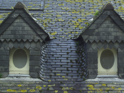 An old fashioned roof with wooden tiles and scatterings of moss that desperately needs a roof cleaning service.