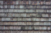A picture of clean, demossed wood roof shingles